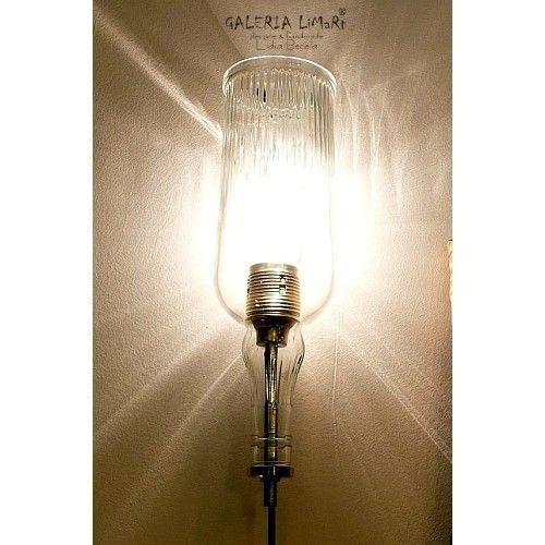 Kinkiet odlotowy ze szklanej butelki. PREZENT super /  Extravagant wall lamp made of hand-cut glass bottle. GIFT great