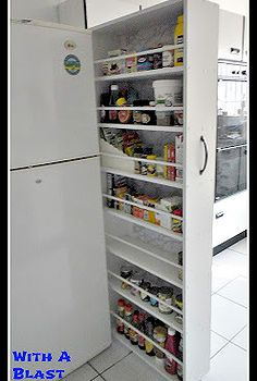 kitchen grocery organizing slider, kitchen design, storage shelving, woodworking projects, My Grocery Slider when open