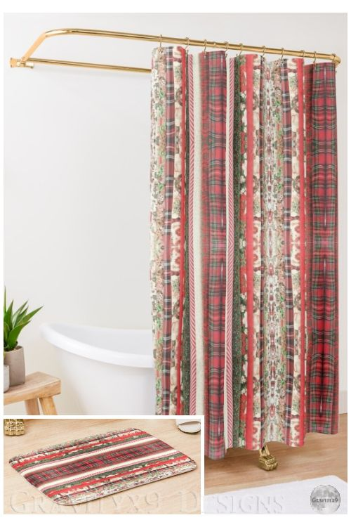 Christmas Fabric   Shower Curtain   Fabric shower curtains ...