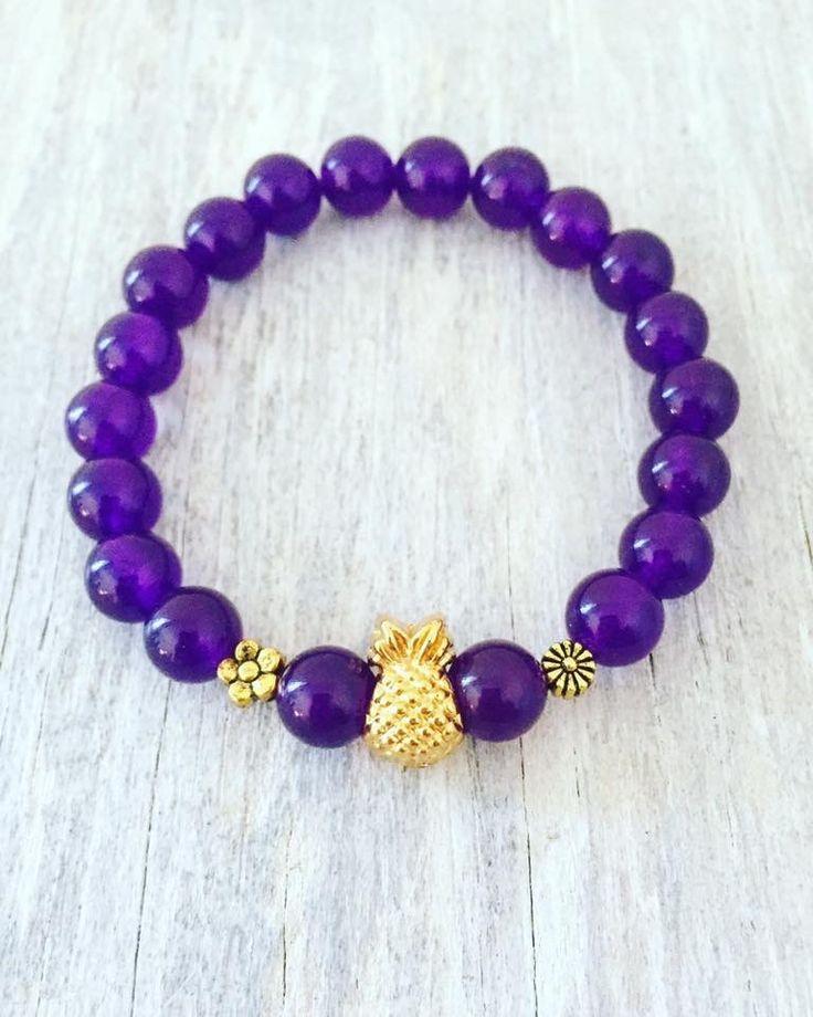 "Pineapple bracelet 8mm Amethyst 6.75"""