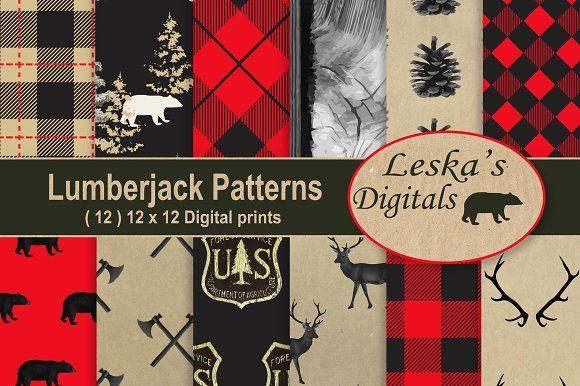Lumberjack Forest Digital Paper by Leska's Digitals on @creativemarket