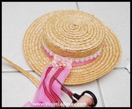 How To Make A Straw Boater Hat - Diy Cancan Hat Tutorial ^_^ - Violet LeBeaux - Free Cute Craft and Beauty Tutorials
