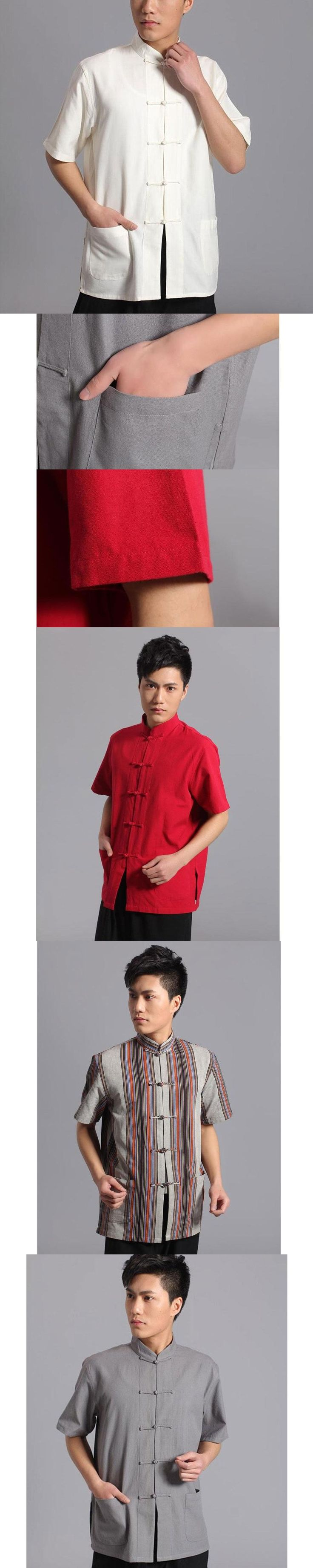 Short Sleeve Cotton Tang Suit Top Men Kung Fu Tai Chi Uniform Shirt Blouse Traditional Chinese Clothes Clothing for Men