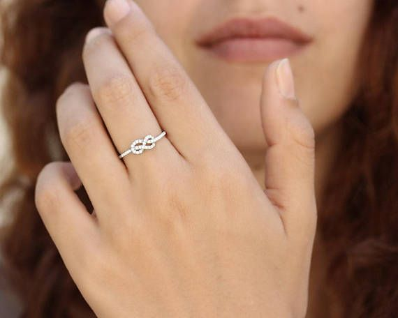 Petite Infinity Ring Diamond Wedding Band Solid Gold