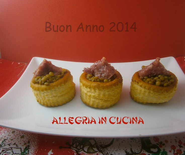 Vol au vent con cotechino e lenticchie - finger food