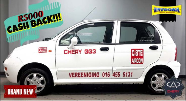 Drive away with a brand new Chery QQ 3.08 and even have some extra money left for Christmas presents!!!  Call us on: 010 590 9916