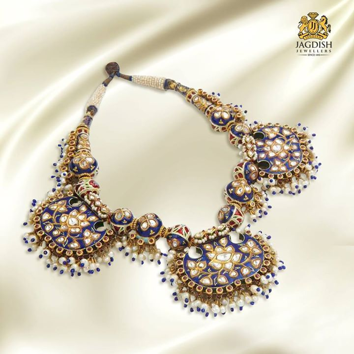 Traditional Necklace with Kundan on Blue enamel