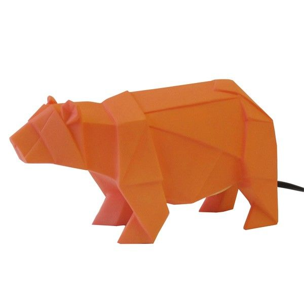 Orange Bear Lamp - Add some cute character to your bedside table with the Orange Bear Lamp! This adorable origami animal lamp is almost more than we can