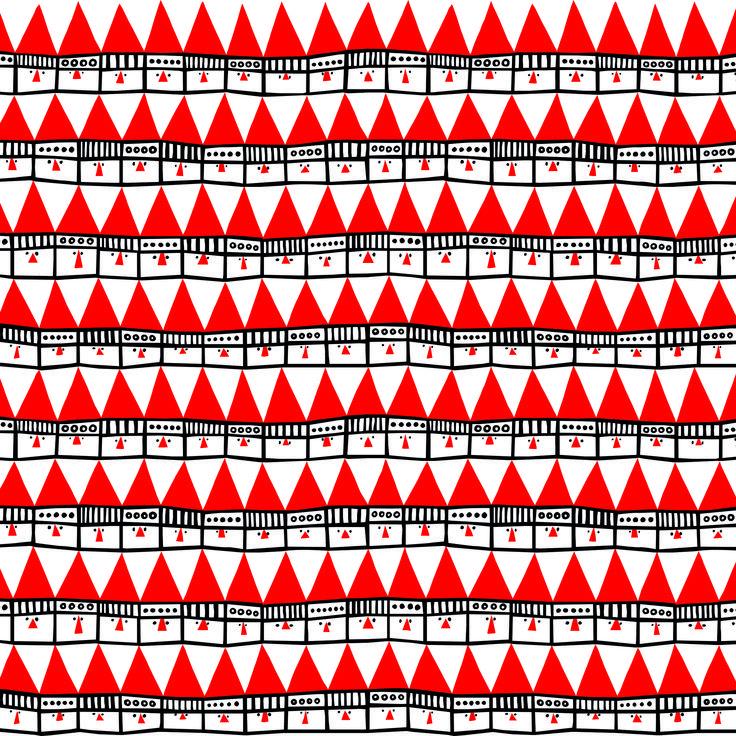 Frösö Handtryck - Hej tomtegubbar, design av Inger Westerberg / Froso Handtryck- Hello santa, design by Inger Westerberg