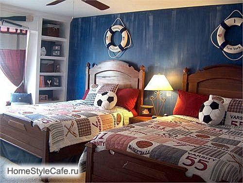 ФОТО ИНТЕРЬЕРА ДЕТСКОЙ. Детская спальня для двоих мальчиков. Интерьер детской комнаты в морском стиле.