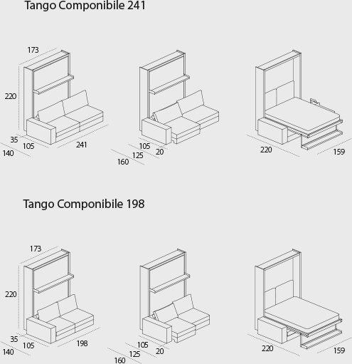 Tango Componibile - Sistema con letto matrimoniale a scomparsa, apertura abbattibile e divano integrato componibile