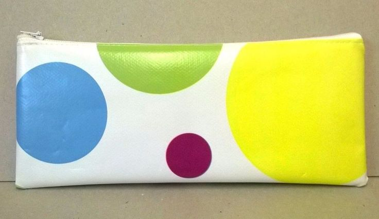 White with large bright spots in blue, yellow, pink, green and plum. This is a lovely large pencil case. This item can be gently wiped clean. Handmade in pvc vinyl. and other handmade gift ideas. | eBay!