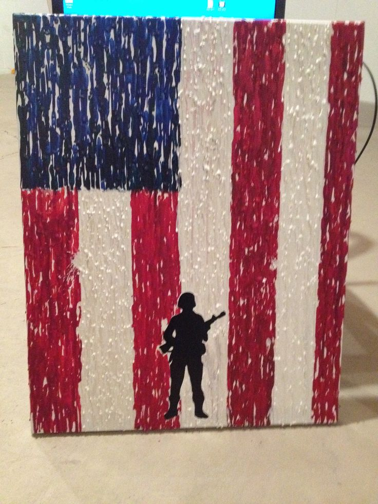 Melted Crayon Flag Canvas