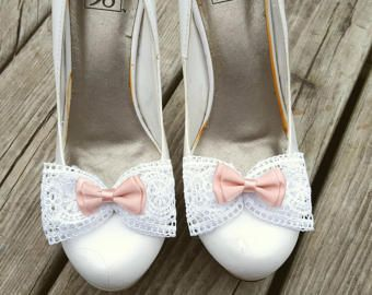 Shoe Clips Wedding For Bridal Shoes Peach White