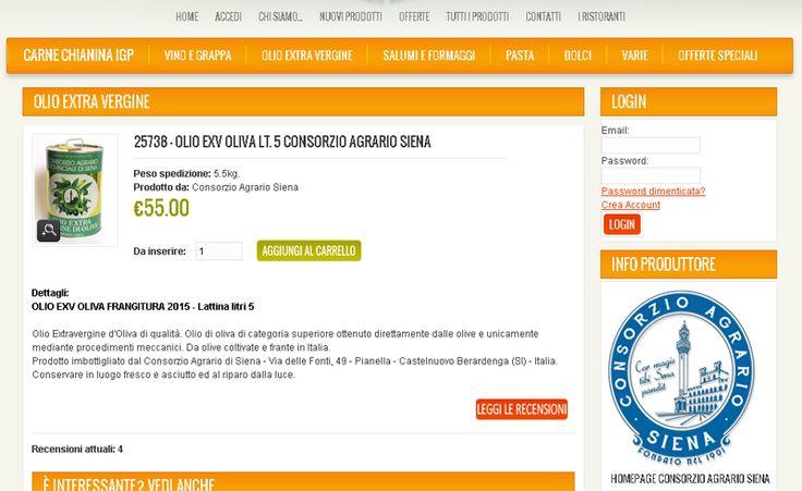 OLIO EXV OLIVA FRANGITURA 2015 - Lattina litri 5 Olio Extravergine d'Oliva di qualità. Olio di oliva di categoria superiore ottenuto direttamente dalle olive e unicamente mediante procedimenti meccanici. Da olive coltivate e frante in Italia. Compra on line al Consorzio agrario di Siena. http://www.capsi.it/bottegasiena/olio-extra-vergine-di-oliva/13317-olio-exv-oliva-filtrato-lt.-5
