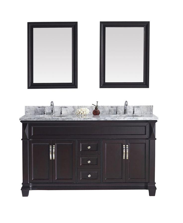 "Virtu USA Victoria 60"" Double Round Sink Espresso Top Vanity in Espresso with Mirrors"