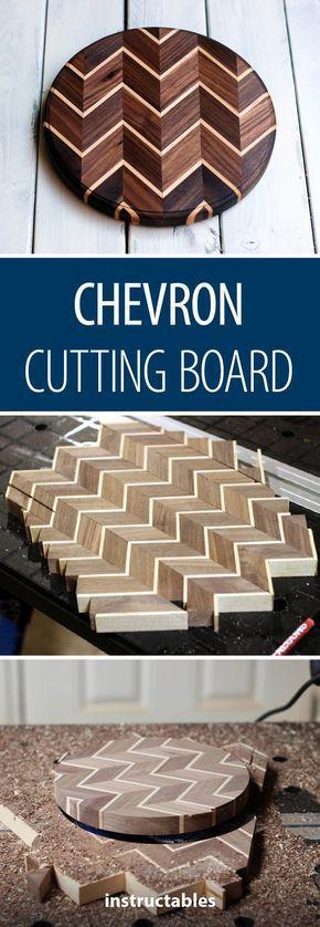 #Chevron #Schneidebrett #woodworking Erstellen Sie ein Schneidebrett mit Chevron…