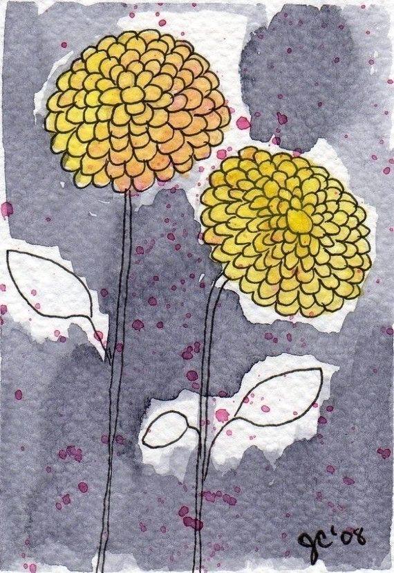 Watercolor Painting: Watercolor Flowers -- Mini Art Print -- Two Yellow Zinnias -- ACEO Print