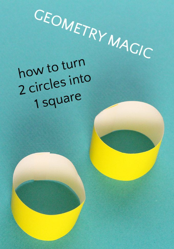 Wow your kids with a geometry magic trick.  Turn two circles into a square. Need origami paper, scotch tape, scissors.