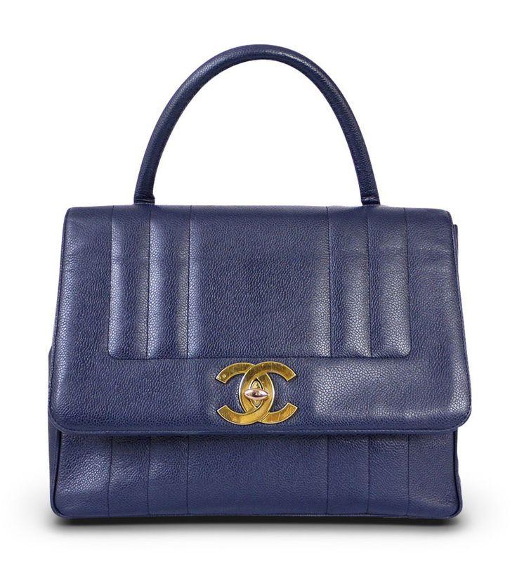 Chanel Dark Blue Caviar Jumbo Kelly Classic Handbag Vintage