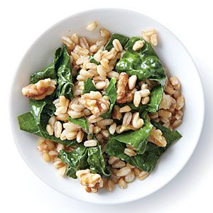 Wilted Kale with Farro and Walnuts | MyRecipes.com  Cut Farro to 2/3 c., added more walnuts and feta for main dish