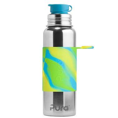 Nerezová fľaša so športovým uzáverom Pura 850 ml - Zelená-aqua