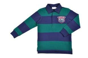 Chemise tipo polo rugby para niño, con franjas en azul oscuro y verde.