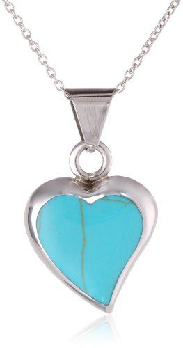 """Sterling Silver Turquoise Inlay Heart Pendant Necklace, 18"""" Amazon Curated Collection,http://www.amazon.com/dp/B0024FAW02/ref=cm_sw_r_pi_dp_.EUDsb109JPFVRGE"""