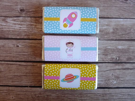 Set of 8 Space Chocolate Candy Wrappers by ThePartyWorkshop