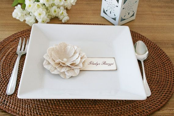 Fabric Flowers Place Cards Wedding Place by PetiteFlowersStudio, $30.00