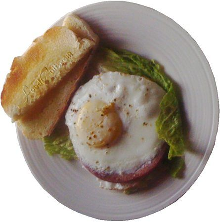 One #egg #fried directly on one slice of #salami - served on a leaf of #lettuce with a piece of #toast from #homemade, #organic #potato #bread.  http://www.foodcult.com - Galganov's #recipes and more - #food matters!
