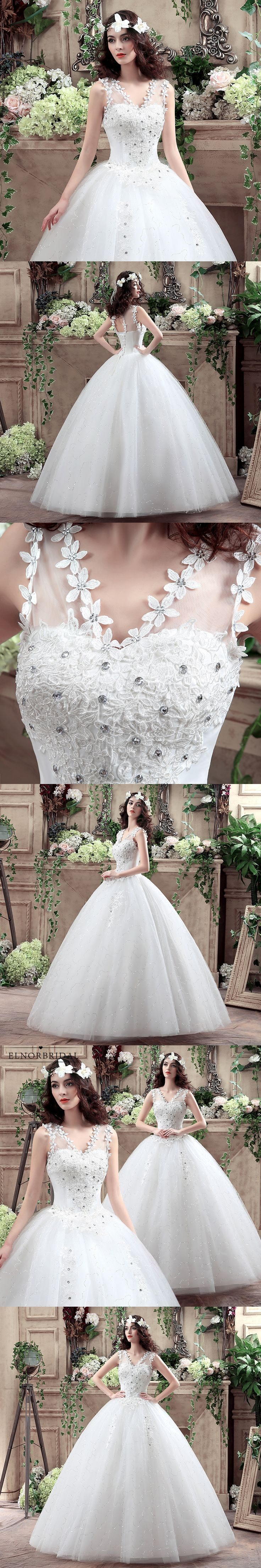 2018 Romantic Ball Gown Wedding Dresses Lace Vestido De Novia V Neck Vestito Sposa Corset Back Bridal Gowns For Garden