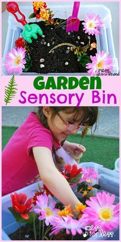 Garden sensory bin: Potting soil (or my fake dirt, for inside play), artificial flowers/greenery, pebbles, small pots, and kid's gardening tools.