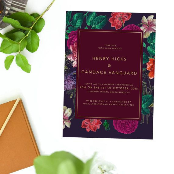 Marsala Burgundy Wedding Invitations Vintage Floral
