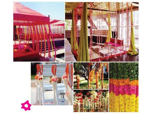 Decoración de boda hindú con cortinas de flores