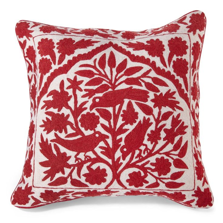 Kash Birds Pillow Cover - Red and White | Wisteria