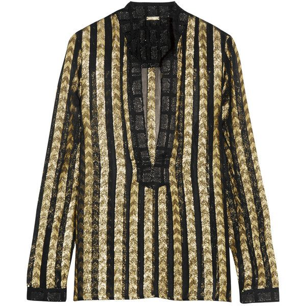 Dodo Bar Or Metallic fil coupé organza shirt (£250) ❤ liked on Polyvore featuring tops, gold, metallic top, beach shirts, see through tops, sheer chevron shirt and shirt tops