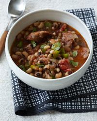 Black-Eyed Pea Stew with Sausage Recipe from Food & Wine - Making this today for New Year's! Gotta have your black eyed peas for luck. :)