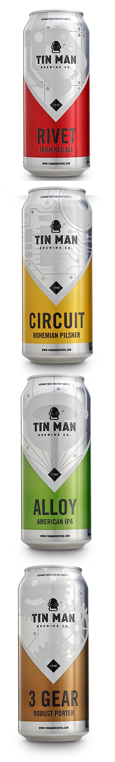 Tin Man Brewing Company's beer metal tin with beautiful shrink sleeve label designs. #etiquette #bouteille #shrink #sleeves #bottle #labels