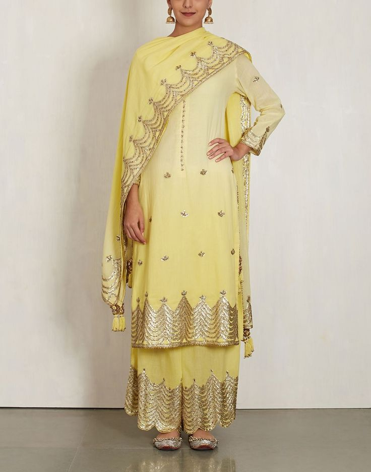 Yellow Cotton Mul Kurta Set-SUKRITI & AAKRITI- img1