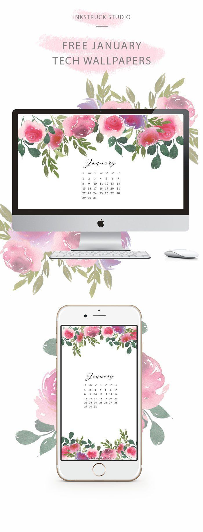 Free watercolor floral wallpaper for the month of January. Get free watercolor tech wallpapers every month! Click to know how - http://www.inkstruck.com