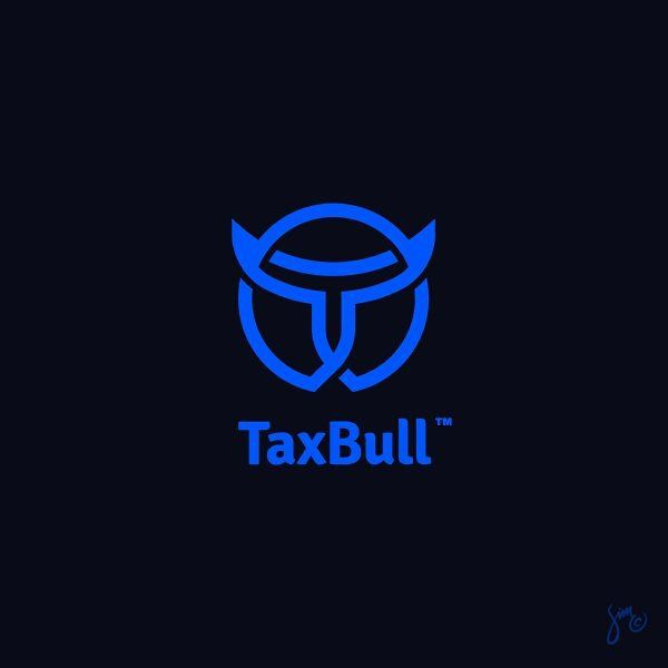 TaxBull | Logo design. Last post this year :) Happy New Year to all of you guys! Woohoo!  _ #logodesign #logo #design #designer #simc #branding #tax #bull #icon #mark #creative #services #letter #blue #circle #horns #line #lastpost #happy #newyear #celebrate #2016 by mr.simc