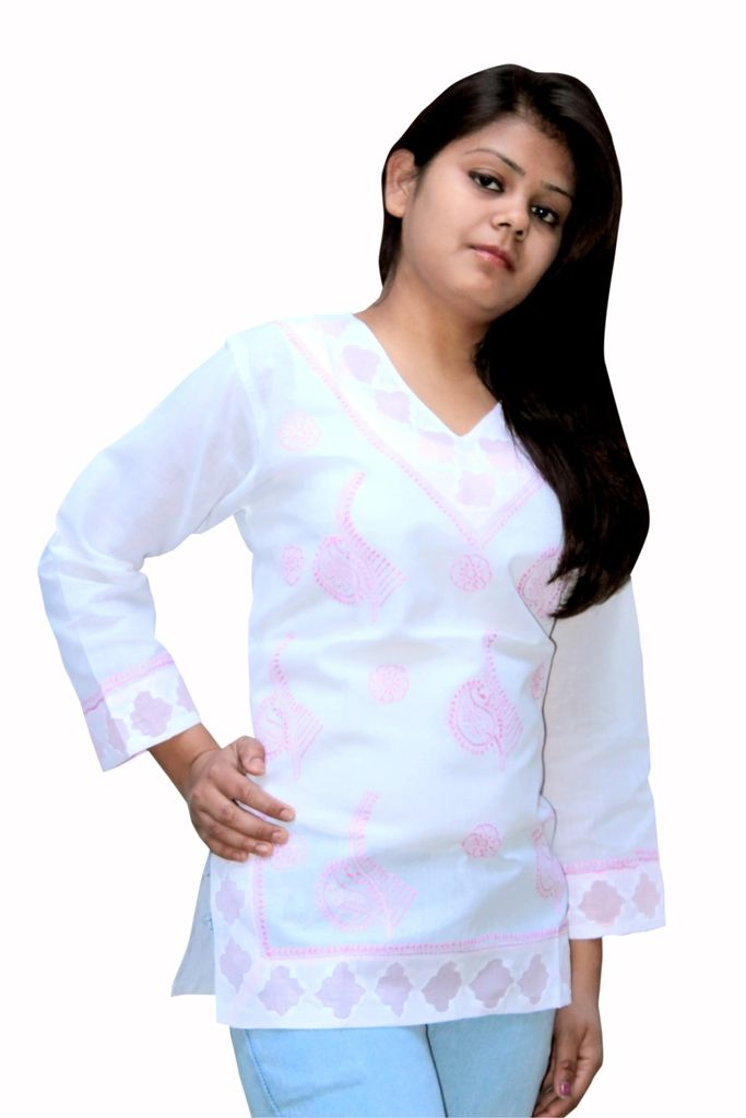 pink patch short chiken kurti from house of lucknow. You can visit www.troverna.com to shop on cash on delivery