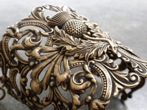 Scottish Thistle Outlander Jewelry Brass Cuff by Serrelynda