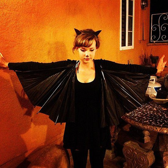 Bat: Ah the bat, the emblem of all things Halloween.  What you need to do: Get a black umbrella that you can rip apart, a black outfit, and bat ears, which can be made out of felt. Source: Instagram user doublearum