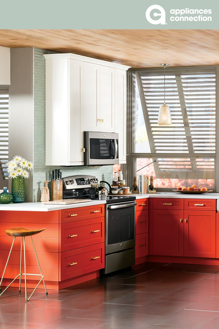 GE Profile Kitchen Appliance Package in slate with red and ...