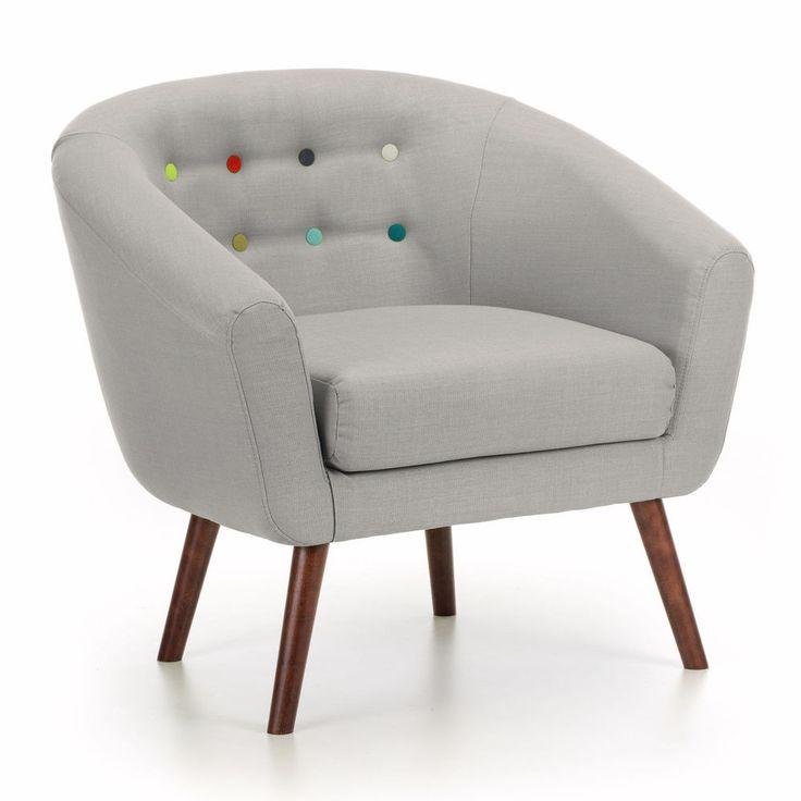 Modern Wooden Armchair Chair Grey Fabric Foam Furniture Small Living Room Wood