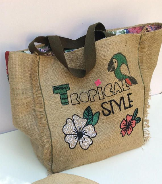 Extra large burlap tote bag recycled handmade hand