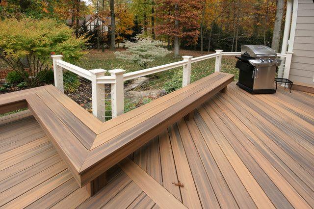 L shaped outdoor bench design plans backless composite for Composite decking sale