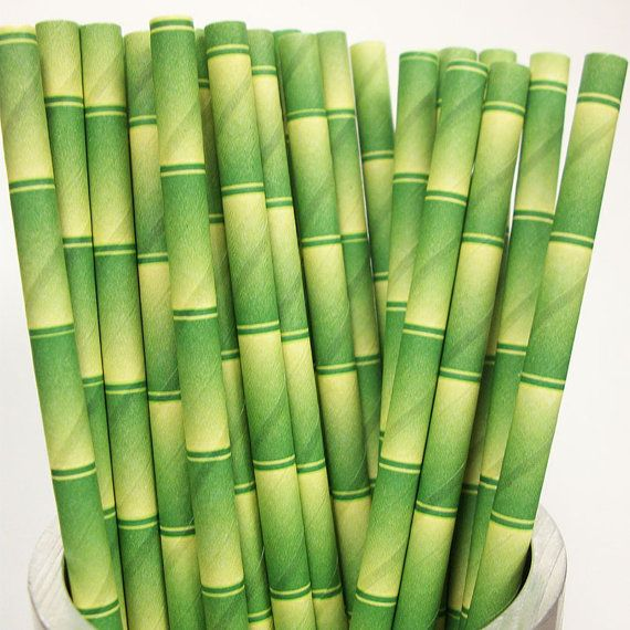 Paper Straws 25 BAMBOO PRINT Paper by PaperStrawsPartyShop on Etsy
